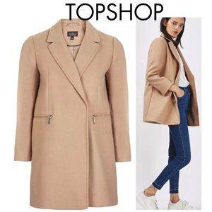 Topshop Camel Coloured Coat Gold Zipper Detail Sz 8